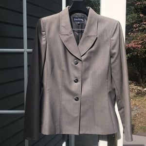 Gray suit jacket and wide leg pants